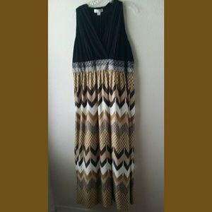 London Style Plus Size Print Maxi Dress Sz 18W